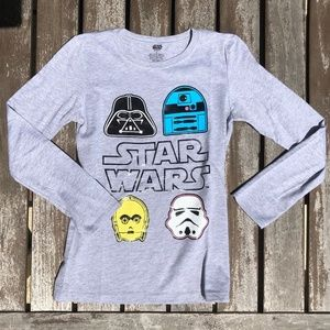 L 8-10 Star Wars Long Sleeve Emoji Tee